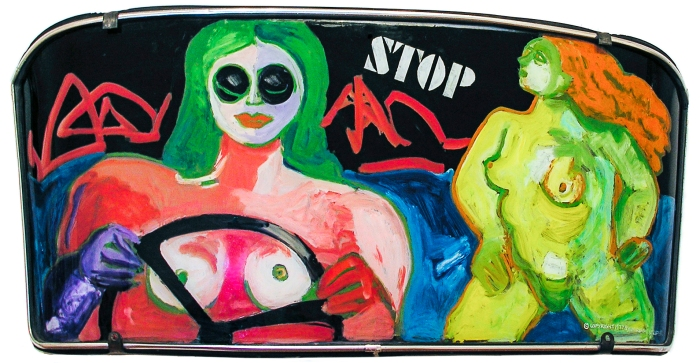 Windshield painting by Miriam Laufer entitled Stop